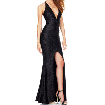 2016 Spaghetti Strap Sequined Dress Vintage Black Maxi Dress Women Elegant Sexy Deep V-neck Front Split Party Long Dress