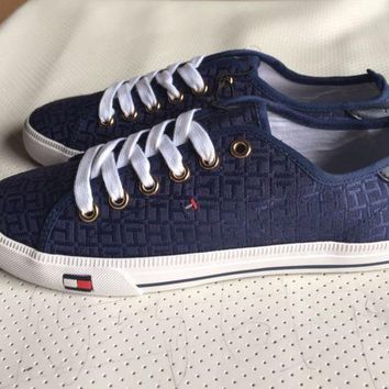 ICIKBA7 Tommy Hilfiger' Fashion Canvas Flats Sneakers Sport Shoes