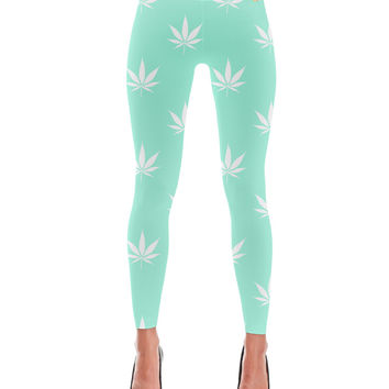 Mermaid Turquoise Cannabis Mint Pattern Leggings