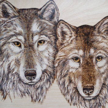 Woodburning Pyrography Wolf wolves