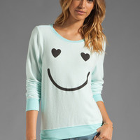 Wildfox Couture Happy Smile Baggy Beach Jumper in Bleached Aqua from REVOLVEclothing.com