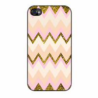 Gold Pink Chevron iPhone 4 Case