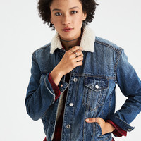 AEO Faux-Sherpa-Lined Denim Jacket, Dark Wash