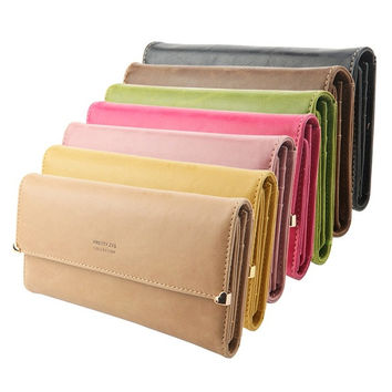 Women's Clutch Matte Leather Wallet Lady Card Purse Girl Handbag Candy 7 Colors = 1958807620