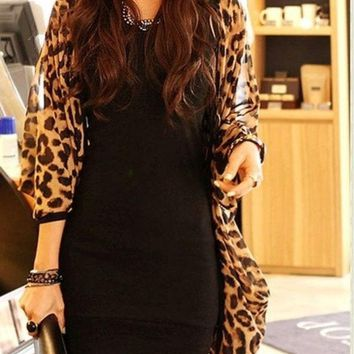 DCCKIX3 women shirt Sexy Fashion Ladies Long Sleeve Leopard Print Batwing Blouse For Women Chiffon Top Loose Shirts One Size (Size: One Size) = 1946500740