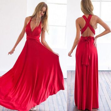Summer Women Maxi Dress Sexy Women Evening Party Dress Bandage Long Dress Sexy V Neck Wrap Around Design Robe Longue Femme