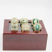 Custom championship ring  Free Shipping 1961 1965 1966 1967 1996 2010 GREEN BAY PACKERS CHAMPIONSHIP RING solid 6 Rings Together