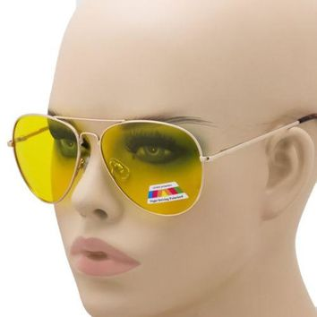 HD POLARIZED SUNGLASSES NIGHT DRIVING VISION YELLOW MEN WOMEN AVIATOR GLASSES