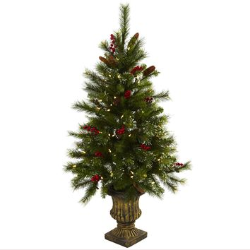 Artificial Tree -4 Foot Christmas Tree With Berries Pine Cones Led Lights