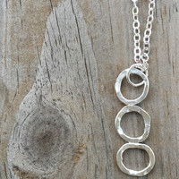 Silver Circle Bar Necklace, Verticle Necklace