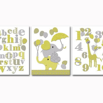 Lime grey abc print elephant giraffe nursery art alphabet wall decor numbers poster baby boy room decoration toddler artwork shower gift