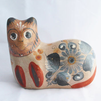 Vintage Mexican Tonala Pottery Cat / Hand Painted and Burnished / Large with Extraordinary Detail and Color / 1970s Tourist Pottery