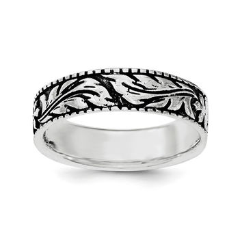 Sterling Silver & Rhodium Floral Ring