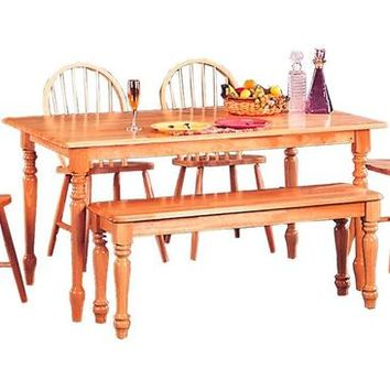 Coaster Natural Butcher Block Farm Table With Turned Legs