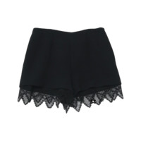 Black Crochet Hem Shorts