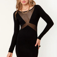 The Big Reveal Cutout Black Dress