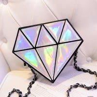 Fashion Diamond Hologram Shoulder Bag