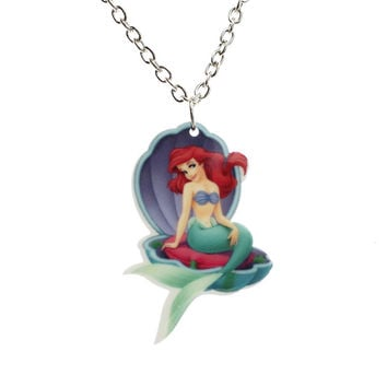 Little Mermaid Ariel Under the sea Clam Necklace pendant SQ12017 hwd