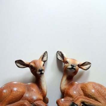 Vintage Pair of Ceramic Deer Statues 1980s