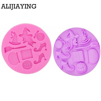 M0140 Halloween Party Sugar Silicone Mold Cake Decorating Tools Hat Pumpkin Witch Pastry Baking Polymer Clay Kitchen Bakeware