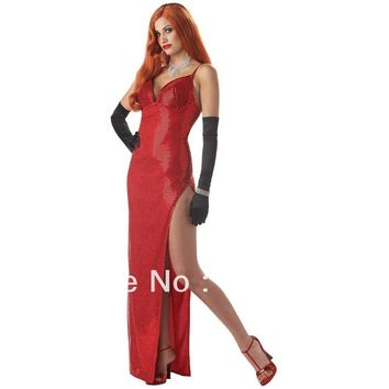 FREE SHIPPING S-2XL Silver Screen Sinsation Womens Sexy Movie Star Jessica Rabbit Halloween Costume