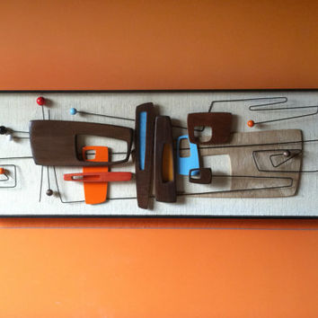 NEW RELEASE   Mid Century Modern Art Abstract Wall Sculpture Pai