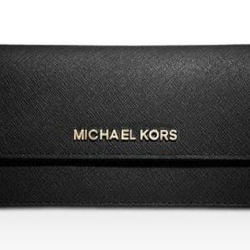 Michael Kors Slim Flat Wallet Saffiano Leather Jet Set Travel Card Holder Black