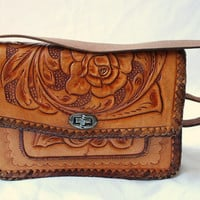 vintage boho mexican tooled leather handbag on adjustable strap