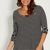 plus size striped top with shark bite hem