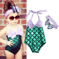 Girls Kid Mermaid Swimmable Bikini Swimwear Swimsuit Swimming Headband Costume toddler girl clothes bikini for children girls