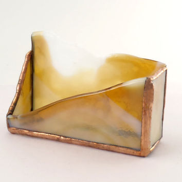 Desktop Business Card Holder - Stained Glass - Desk Accessory - Business Card Stand - Amber White Glass - Handmade