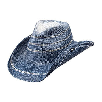 Peter Grimm Ltd Unisex Stadler Straw Cowboy Hat Blue One Size