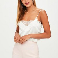 Missguided - Cream Lace Trim Cami Top