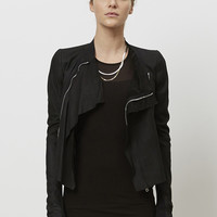 Totokaelo - Rick Owens Black Low Neck Biker Jacket - $1,786.00