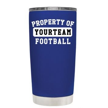 TREK Property of Football Personalized on Blue 20 oz Tumbler Cup