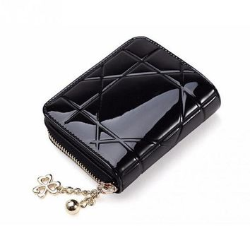ICIKL3Z Patent Leather Womens Wallets Female Small Wallets Mini Zipper Wallet for Women Brand Short Leather Purse Clutch Girl Money Bag