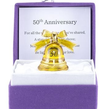 Small Messenger With 50th Anniversary Bell Glass Figurine Colorburst Gift