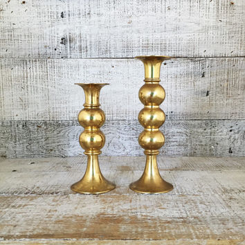 Brass Candlestick Holders Pair of Mid Century Brass Ball Candlestick Holders Brass Taper Candle Holders Danish Modern Candle Holders
