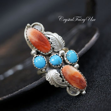 Antique Turquoise Ring -  Genuine Coral Ring - Sterling Silver Turquoise Ring  - Size 7  Natural Coral   Indian Navajo Gemstone Ring