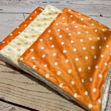 Baby Burp cloths,Handmade Burp Pads,Baby Shower Gift,Orange Polka Dot Minky,Baby and Child Care,Baby Accessories,Burp Rags