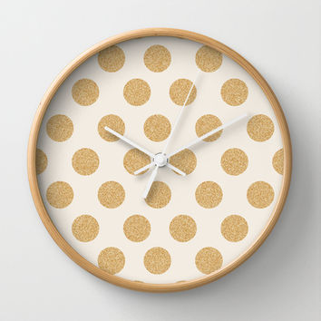 Glittering Gold Dots Wall Clock by Allyson Johnson