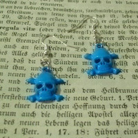 Light Blue Skull Dangle Earrings -  You Choose With Silver Or Gold Plated Earring Findings
