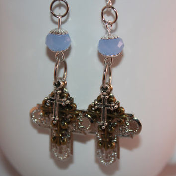 Blue Cross Earrings - Religious Jewelry