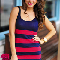 Drift Away With Me Dress: Navy/Red | Hope's