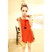 Orange Shoulder Pad Printed Zippered Dress