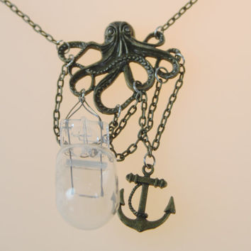 octopus steampunk nautical anchor, chains, light bulb, multimedia necklace aged bronze 18.5 inches long
