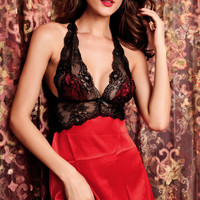 Red Halter Floral Lace Mesh Chemise Lingerie