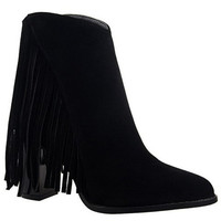 Ankle Suede Boots With Fringe Design