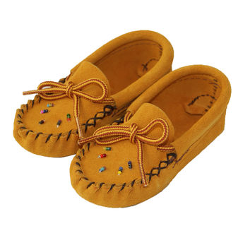Baby Soft-Sole Suede Moccasins with Beading