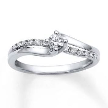 Diamond Engagement Ring 1/4 carat tw Round-cut 10K White Gold